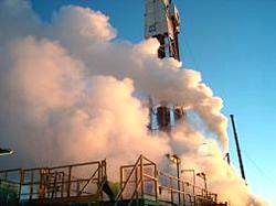 Dampfwolken beim Pumptest in Unterhaching Geothermiekraftwerk
