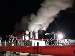 Geothermiekraftwerk Landau  in der Nacht